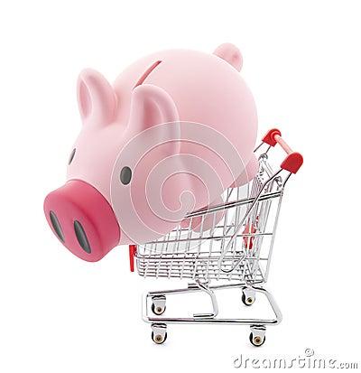 Piggy bank with shopping cart