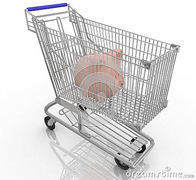 Piggy bank in a shopping cart