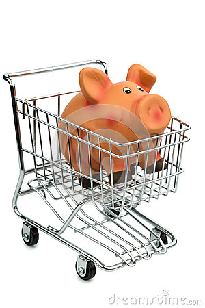 Piggy bank in cart