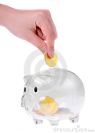 Piggy bank style glass moneybox