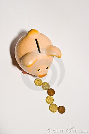 Piggy bank style money box isolated on a white bac