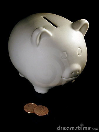 Piggy bank and two cents