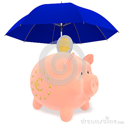 Piggy Bank under a blue umbrella