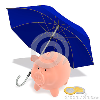 Piggy Bank under the umbrella
