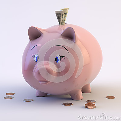 Piggy Bank With US Coins & Bills Royalty Free Stock Photo - Image: 28863895