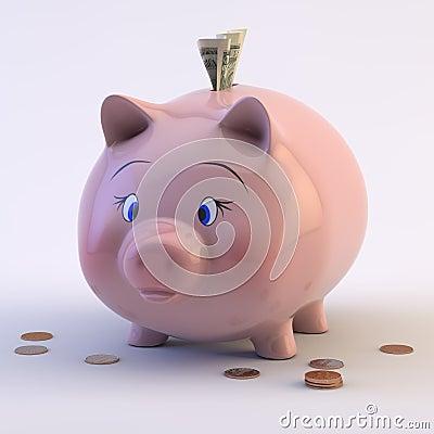 Piggy Bank with US Coins & Bills