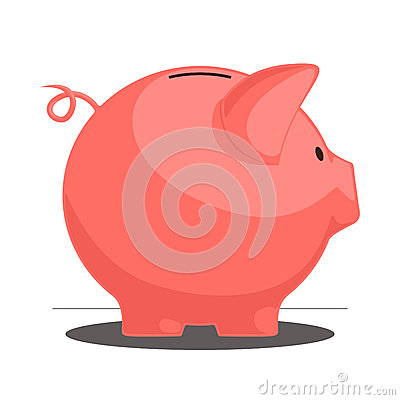 Free Piggy Bank. Vector Illustration. Royalty Free Stock Photography - 27738457
