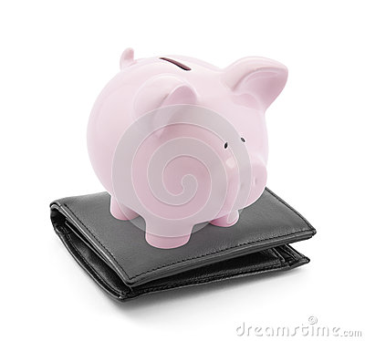 Piggy bank with wallet