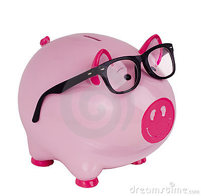 Piggy bank wearing black spectacle glasses