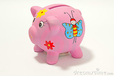 Piggy bank on white