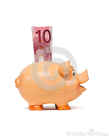 Free Piggy Bank With 10 Euro Note Stock Photo - 26243510