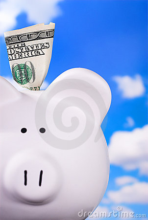 Free Piggy Bank With $100 Stock Image - 2412751