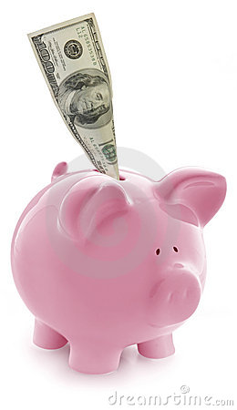 Free Piggy Bank With $100 In Slot Royalty Free Stock Images - 7152629