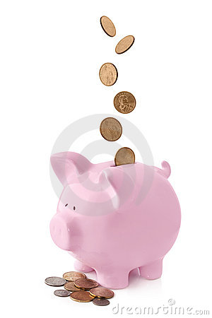 Free Piggy Bank With Falling Coins Royalty Free Stock Image - 15951776