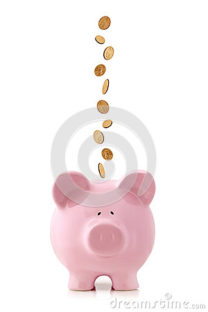 Free Piggy Bank With Falling Coins Royalty Free Stock Photos - 29053658
