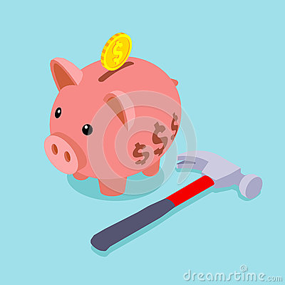 Free Piggy Bank With Golden Coin And Lying Hammer Royalty Free Stock Image - 51121146
