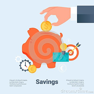 Free Piggy Bank With Hand And Coin. Saving Money And Investment Business Concept. Flat Style With Long Shadows. Material Design. Royalty Free Stock Image - 49204806