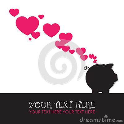 Free Piggy Bank With Hearts. Stock Photo - 29083300