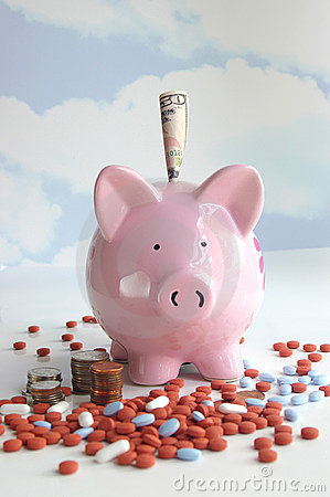 Free Piggy Bank With Pills And Money Stock Photography - 218972