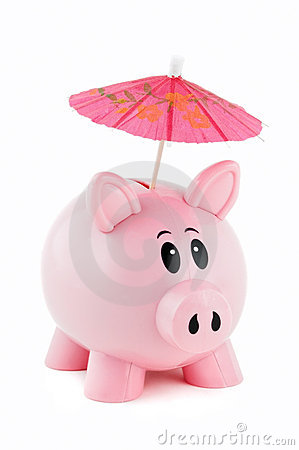 Free Piggy Bank With Pink Umbrella Royalty Free Stock Photography - 1884547