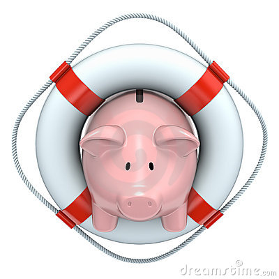 Free Piggy Bank With The Lifebuoy Royalty Free Stock Image - 14296526