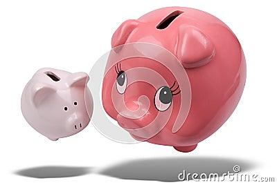 Piggy banks floating