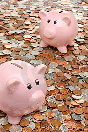 Piggy banks over money business & finance concept