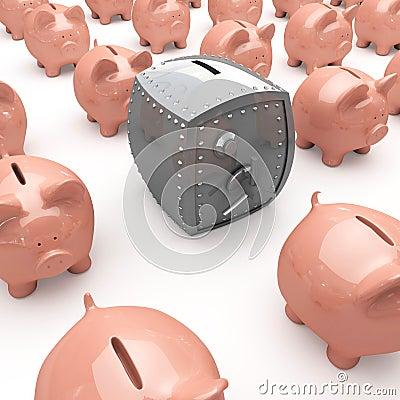 Piggy banks and safe
