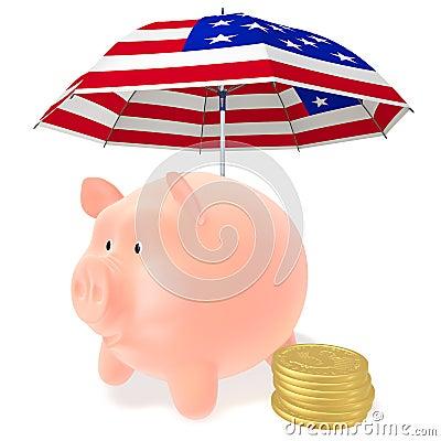 Piggy and coins under the umbrella