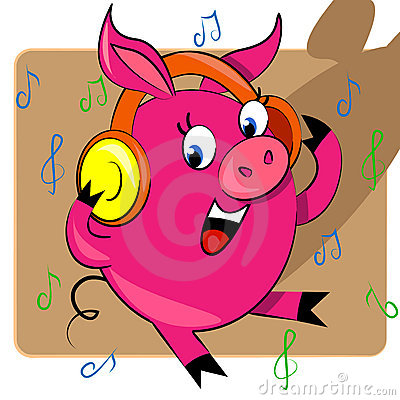 Piggy listening music  illustration.