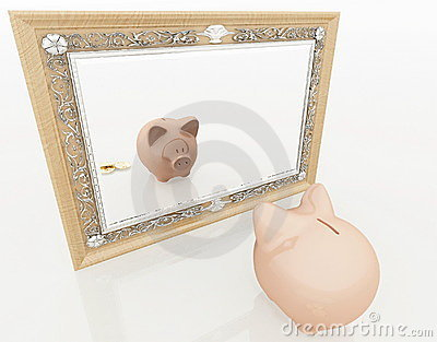 Piggy at the mirror