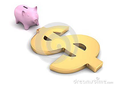Piggy money coin bank with golden dollar symbol