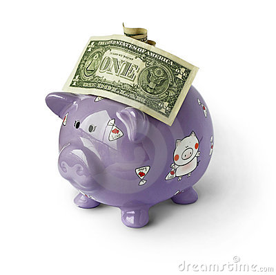 Piggy moneybox with money