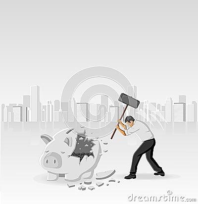 Piggy Querneigung mit Münzen