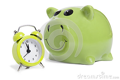 Piggybank and alarm-clock
