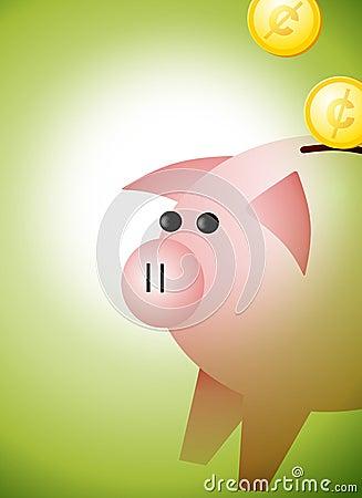Piggybank avec le fond de pièces de monnaie