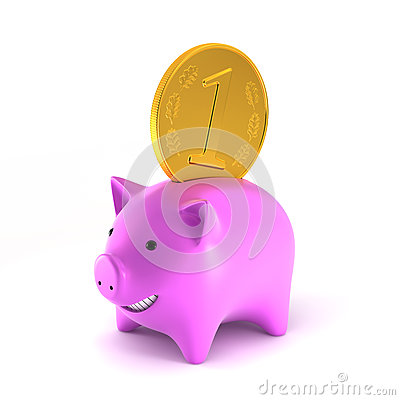 Piggybank with big coin