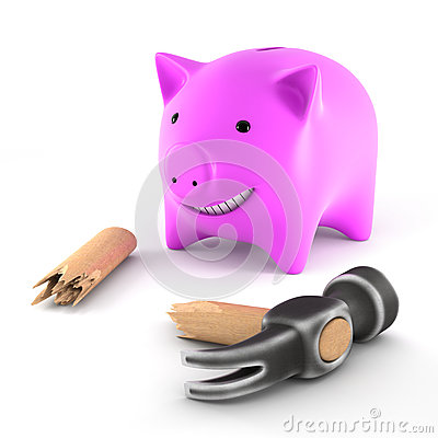 Piggybank with broken hammer