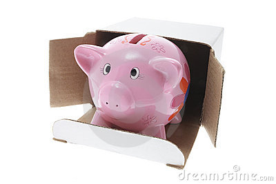 Piggybank in Cardboard Box