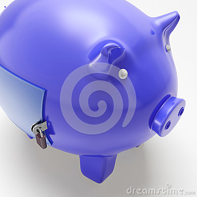 Piggybank With Closed Door Showing Financial Security