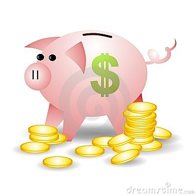 Piggybank With Coins Dollar Sign
