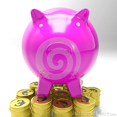 Piggybank On Coins Shows European Currency