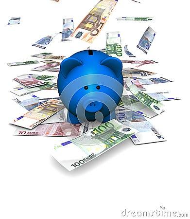 Piggybank die Euro valt
