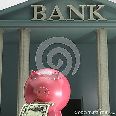 Piggybank en el banco que muestra el ahorro de la seguridad