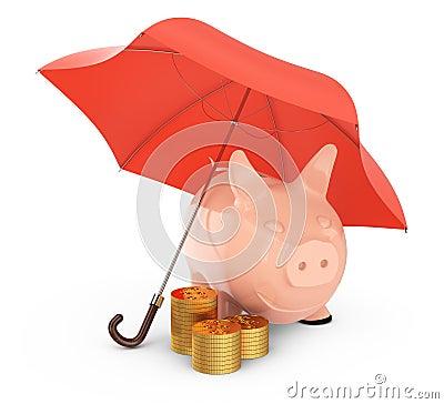 Piggybank en gouden muntstukken onder paraplu