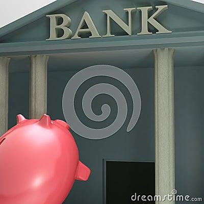 Piggybank Entering Bank Showing Monetary Lift