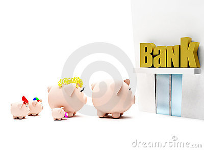 Piggybank family at the bank