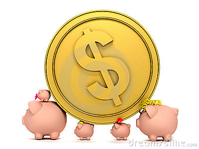Piggybank family with a coin
