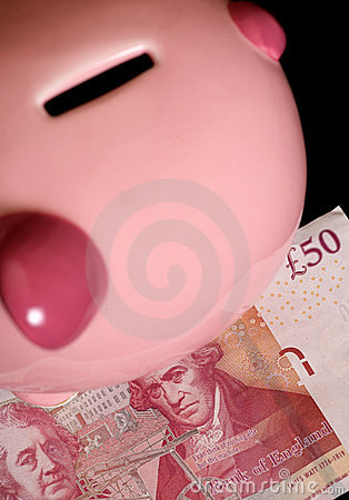 Piggybank with fifty pound note