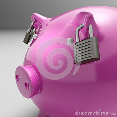 Piggybank With Locked Ears Shows Savings Safety